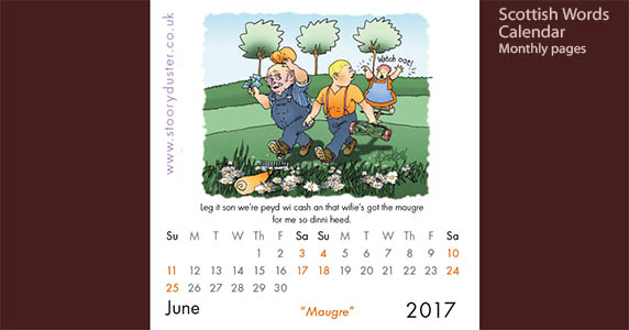 Scottish word illustrated calendar page - June 2017