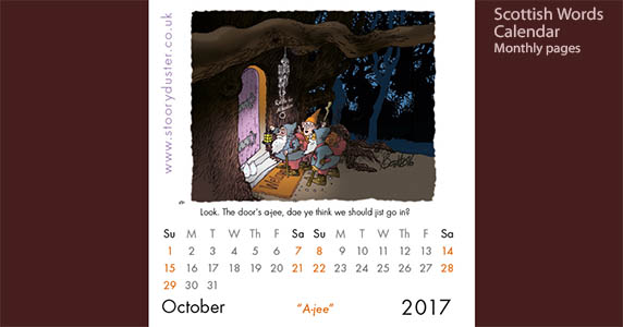 Scottish word illustrated calendar page - October 2017