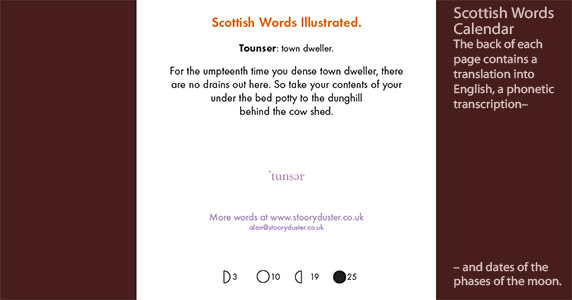 Scottish word illustrated calendar back of page