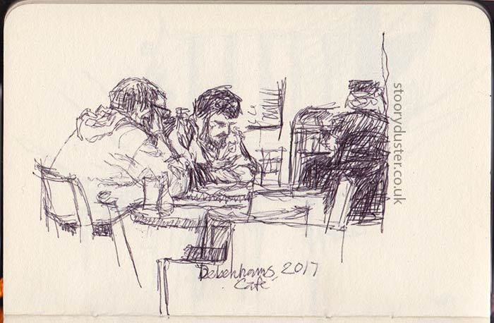 more leisurely sketch in a cafe.