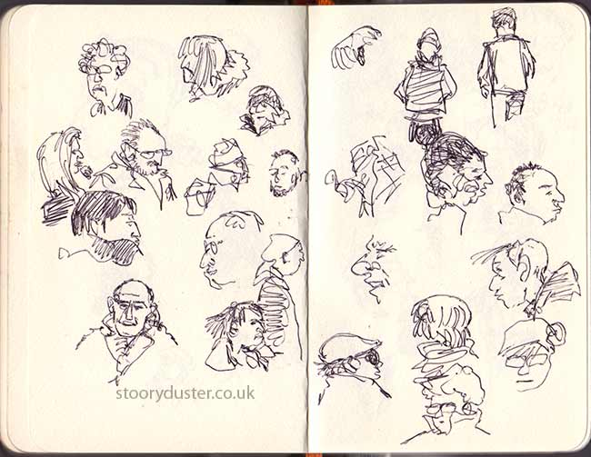 Sketching people in the shopping mall as they walk past.