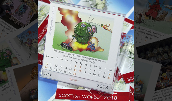The Scottish Words 2018 Calendar uses its case as its display stand.