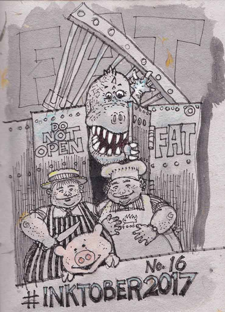 The fat butcher, cook, pig and an escapee big toothy hungry dinosaur.