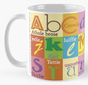 Scottish food words alphabet coffee mug available on redbubble.