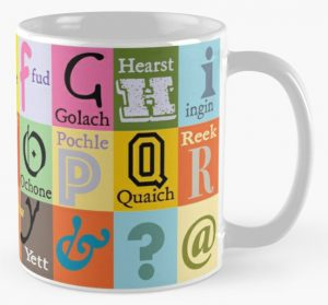 Scottish words alphabet coffee mug available on redbubble.