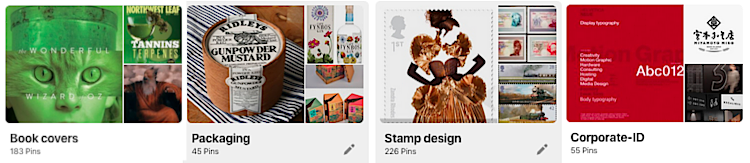 Go visit my Pinterest boards on design and illustration.