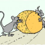 Mice stealing a heavy kebbock of cheese.