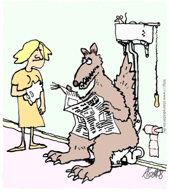 A well trained but rather large talking dog in the bathroom.