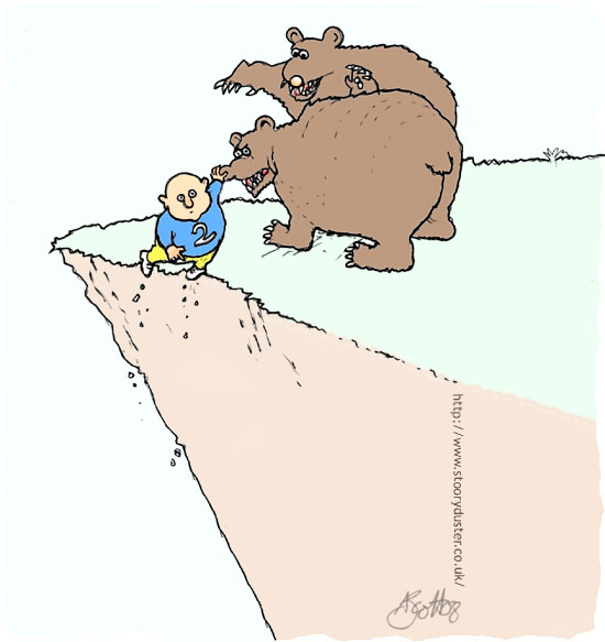 Brown Bears conscious of their diet as a desperate hiker teetering over the cliff hangs on by gripping one's nose.