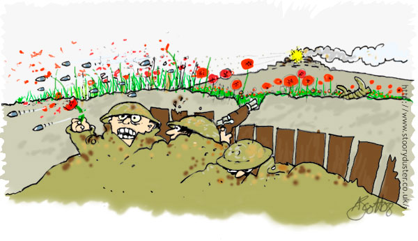 Philosophy under fire in the trenches as the poppies are shredded by Maxim machine gun fire.