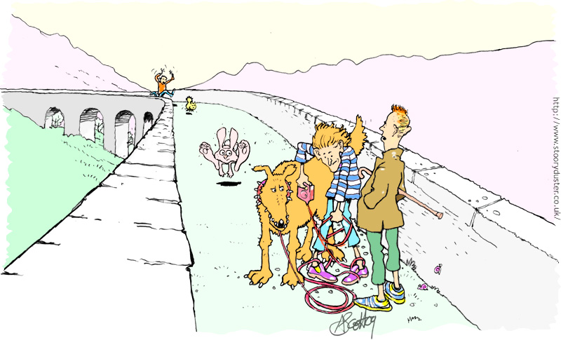 Caught in the leash of a big dog on a narrow viaduct when a rabbit is on the loose is not a good idea.