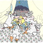 A mob of peg-leg bunnies with knives hop about on the bed in their thirst for revenge.