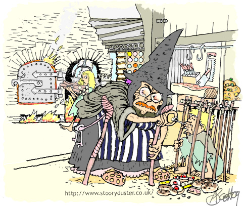 The old witch pronounces Hansel's death sentence while Gretel determinedly stokes the furnace in the background.