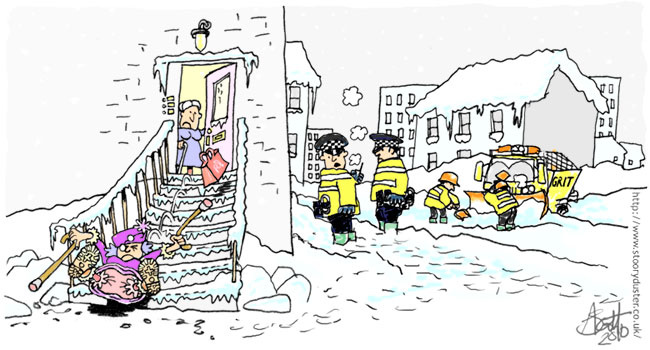 Policemen keeping a weather eye on the neighbourhood hears a grandma skid all the way down a set of wintry ice covered steps.
