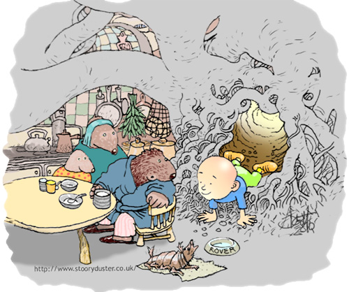 Gregor crawls and slides down the tunnel into the moudiewort kitchen where they are having a lovely breakfast of brose.