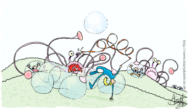 Bubble monsters trapping earth citizens in bubbles but the Olympic class ribbon gymnast in a blue body stocking is dodging and whipping its eyes out.