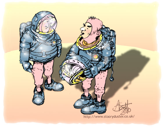 Two men, one with his helmet off, in space suits but only the boots, helmet and torso of the suit - no trousers element.