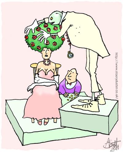 Servant checks his ladies rose bush wig for vermin.