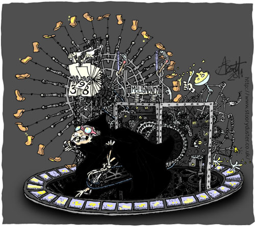The skeletal Death of Rats pedals furiously on the complicated toast spinning contraption.