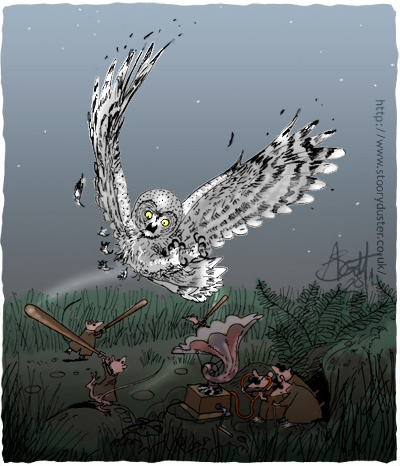 The owl gets the fright of its life and is lucky to only lose a few feathers as the blind mice warned by reverse engineering a gramophone into an early warning listening device lash out with baseball bats.