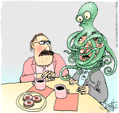 Two friends at tea with a multi tentacled pet perched on one's head.