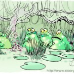 Frog society in the swamp where one frog has purple bubbly water at its rear.