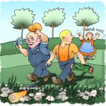 Gardeners fleeing through daisy loaded long grass after being paid with woman shouting watch out..
