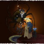 spider and miss muffet as granny Giles dealing with the president.