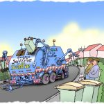 Self drive bin emptying refuse robot lorry doing its work.