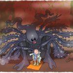 Acid breathing alien babysitter dwarfing a small boy as she readies him for school on a strange hostile world.