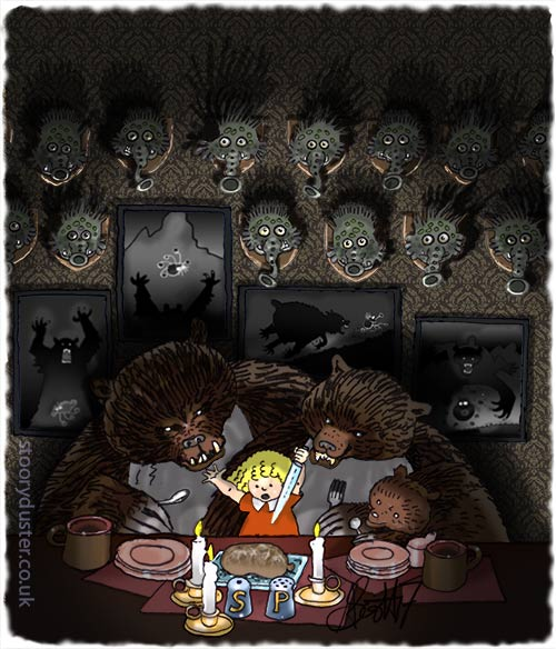 Goldilocks and the three bears having a Burns supper in front of a haggis trophy wall.