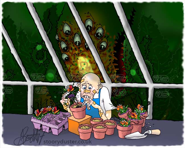 Man repotting plants in a greenhouse with a mother plant watching intently.