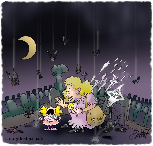 A spoiled small girl causing bats to drop out of the sky with her screeching.