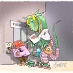Blushing rabbit has just given his dragon love his valentine as they prepare to squeeze into a confined elevator.