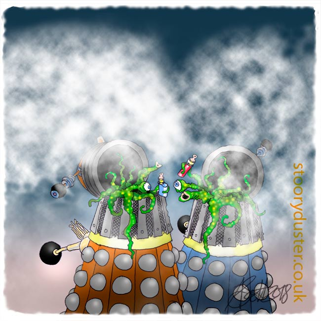 Daleks with their lids off vaping in clouds of vape.