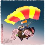 Parachutist descending with mouse on his boot giving guidance.
