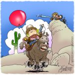 Girl on a horse in love with her bobbing balloon above while nasty brother aims at it unseen with his speargun.