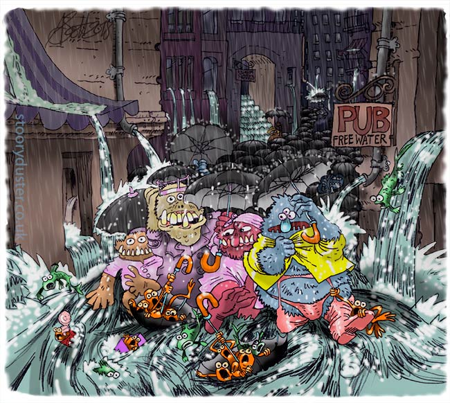 Urban monsters in a downpour with umbrellas and flooded storm washed feet.