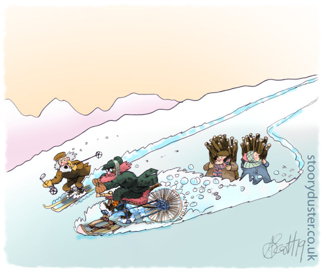 Highlander speeding down a hill in the snow on his new invention.