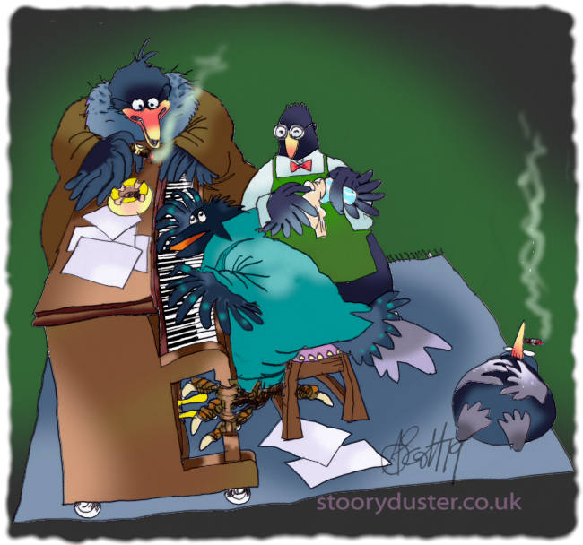 Penguin lying smoking on the edge of a rug by a bird playing the piano alongside a waiter and a talkative impresario.
