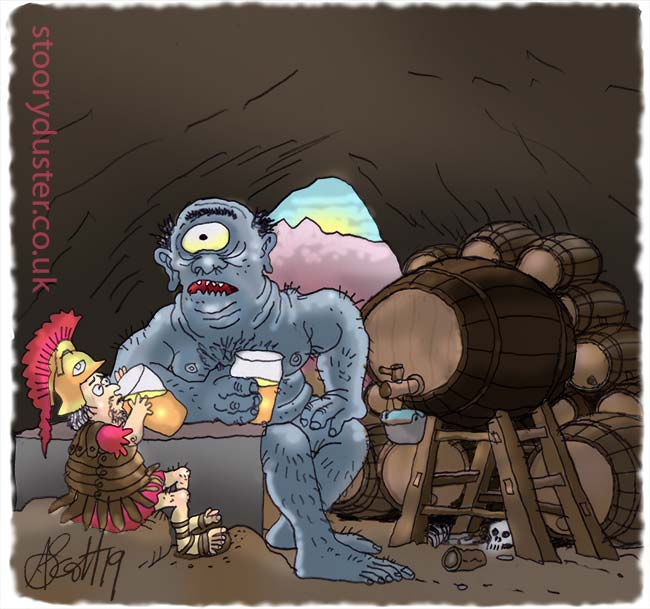 A Cyclops and a Greek soldier sitting chatting over Cyclop sized pints of beer in a cave.