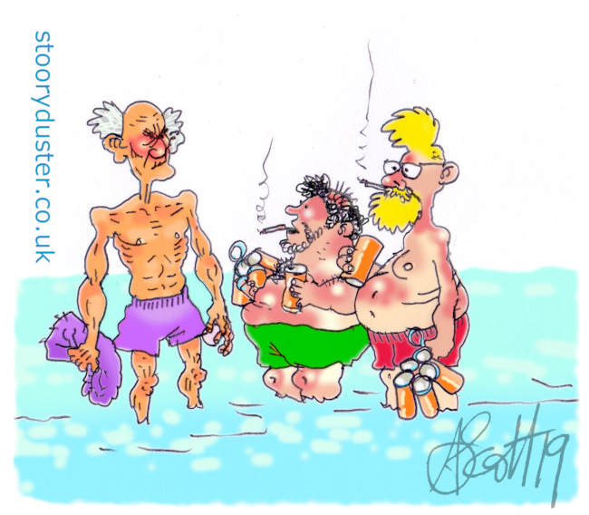 Two swim-wear wearing pot bellied guys with beer packs speaking to a fit old man while wading in the sea.