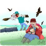 Hole blasted through one birdwatchers head by an irate diving torpedo shaped Bonxie.