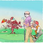 Golfer outraged by fearsome red multi limbed monster errupting out of the 9th green.