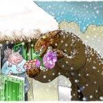 Greedy wolf in the snow tempting one of the pigs with a colourful box of choice sweets.