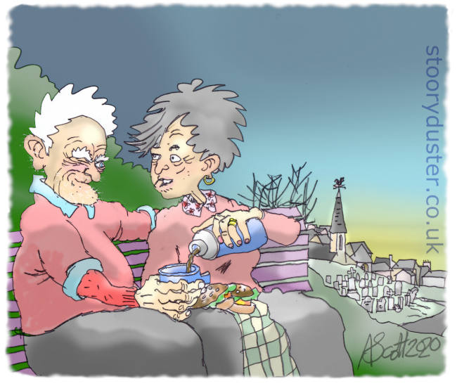 A long term old couple on the hill above the churchyard having a coffee from a flask.