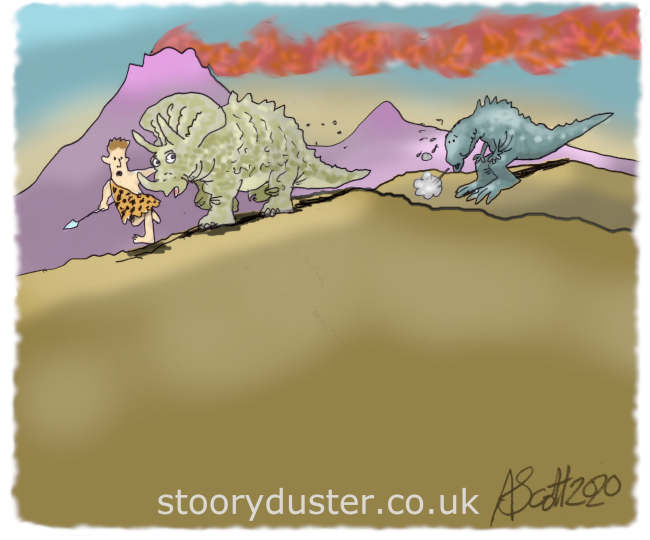 As man and dinosaur cross the ridge the Tyrannosaurus Rex is left out of puff on the hill behind.