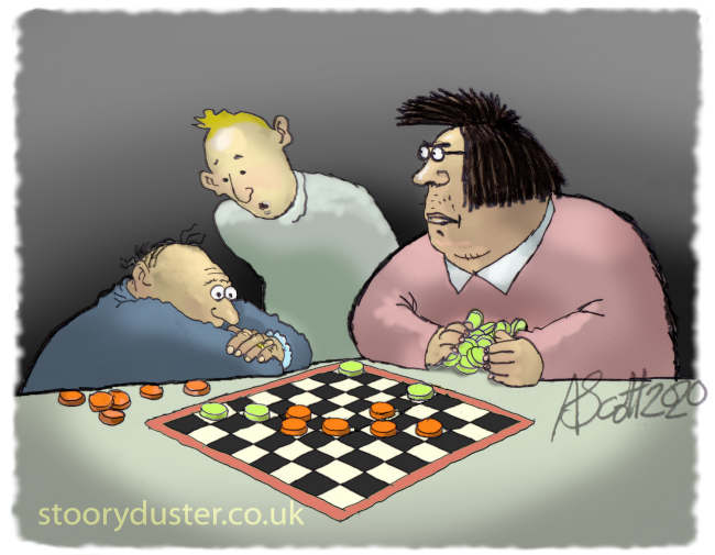Likely lad giving advice to a stumped draughts player who, if he moves right, is certain to win. (Checkers)