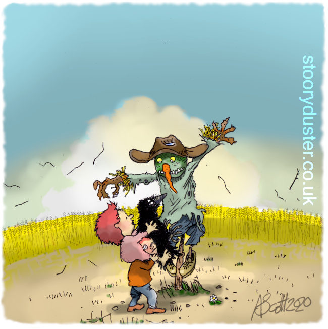 Two kids in a windswept corn field showing their pet crow to the grinning scarecrow.