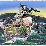 Pirate Captain Wuntle Widlestrae full of wind heads towards the wrecking rocks.